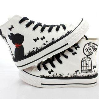 HVBAO - Painted Lace-Up High-Top Canvas Sneakers (Shoeslace Color Ramdon )