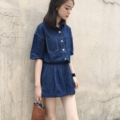 Kojasmine - Set: Short-Sleeve Denim Blouse + Cuffed Denim Shorts