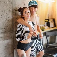 Rachel Swimwear - 情侶條紋防曬衣 + 泳褲 / 游泳短褲