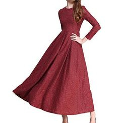 Dream a Dream - Long-Sleeve Tie Waist Maxi Dress
