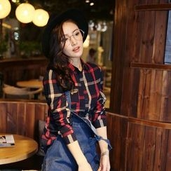 Jiuni - 3/4 Sleeve Plaid Shirt