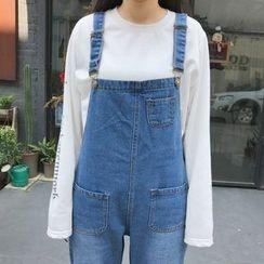 MePanda - 直筒背带牛仔裤