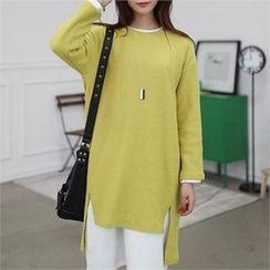 CHICFOX - Drop-Shoulder Slit-Front T-Shirt