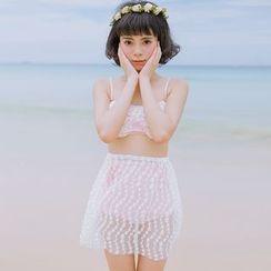 Moonrise Swimwear - Set: High Waist Bikini + Lace Skirt