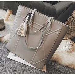Youme - Tasseled Faux Leather Tote