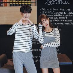CASSY - Striped Couple Matching T-Shirt / Drawstring Pants / Jumper Dress