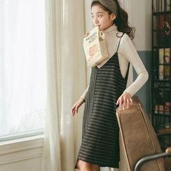 Hanme - 條紋背帶裙