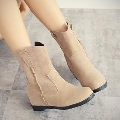 Charming Kicks - Faux Suede Hidden Wedge Boots