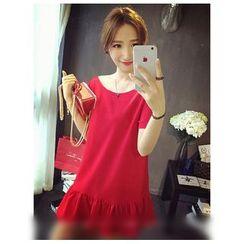 QZ Lady - Short-Sleeve Ruffle Trim A-line Dress