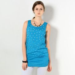 59 Seconds - Faux Pearl-Embellished Sleeveless Tunic