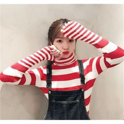 QZ Lady - High Neck Striped Sweater