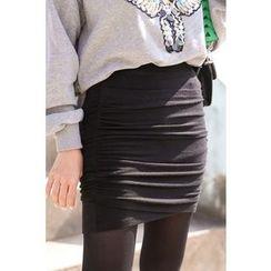 PPGIRL - Band-Waist Shirred Skirt