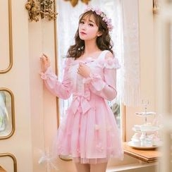 Candy Rain - Bow Accent Flower Applique Off Shoulder Long Sleeve Dress
