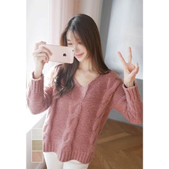 MyFiona - V-Neck Chunky-Knit Sweater
