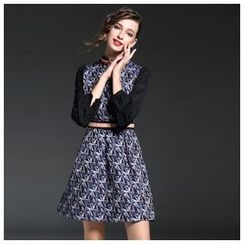 Elabo - Long-Sleeve Patterned Tie Waist Dress