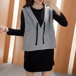 Glen Glam - Set: V-Neck Hooded Vest + Long-Sleeve T-Shirt Dress