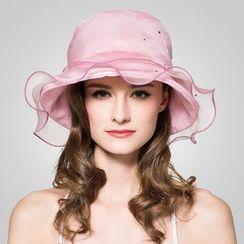 BADA - 水钻珍珠桑蚕丝木耳边遮阳帽