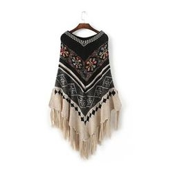 Chicsense - Tassel-Trim Patterned Cape