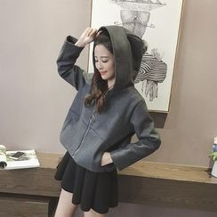Eva Fashion - Plain Hooded Jacket