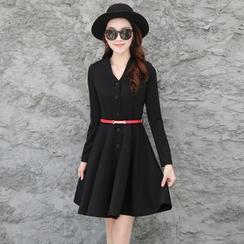Romantica - Long-Sleeve Plain A-Line Dress