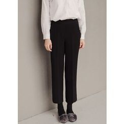 J-ANN - Banded-Waist Cropped Dress Pants