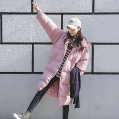 JUSTONE - Hooded Snap-Button Long Puffer Coat