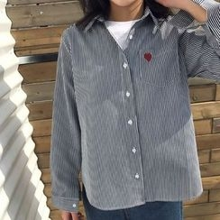 Dute - 心心刺绣条纹衬衫