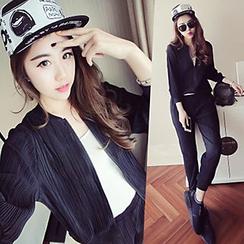 Ashlee - 套装: 打褶棒球夹克 + 打褶长裤