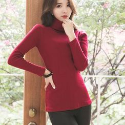 Dowisi - Plain Turtleneck Long Sleeve T-Shirt