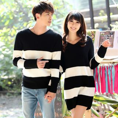 NoonSun - Couple Matching Striped Sweater / Long Sleeve Knit Dress