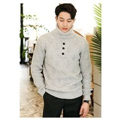 HOTBOOM - Turtle-Neck Wool Blend Sweater
