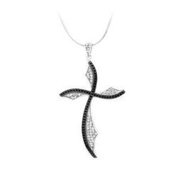 BELEC - 925 Sterling Silver Cross Pendant with Black and White Cubic Zircon and Necklace
