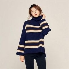 MAGJAY - Wool Blend Turtle-Neck Striped Knit Top