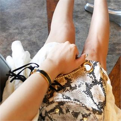 LIPHOP - Snake Skin Print Tassel-Accent Shoulder Bag