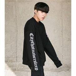 ABOKI - Cotton Lettering Print Sweatshirt