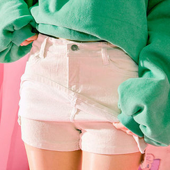 chuu - Inset Shorts Corduroy Mini Skirt