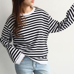 NANING9 - Long-Sleeve Striped T-Shirt