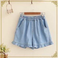 Fairyland - Frill-hem Denim Shorts