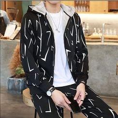 百高 - 套裝: 印花毛裡連帽夾克 + 褲