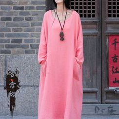 EMBRO - Long-Sleeve Linen-Blend Dress