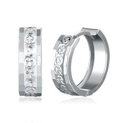 MaBelle - 14K/585 White Gold Diamond Cut Round Huggie Earrings