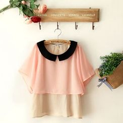 11.STREET - Tiered Batwing Collared Top