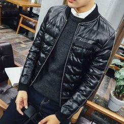 COOLIN - Faux Leather Padded Bomber Jacket