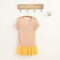 11.STREET - Pleated Hem Perforated Short-Sleeve Knit Top