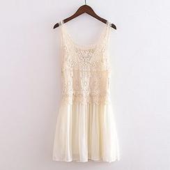 ninna nanna - Lace Panel Chiffon Tank Dress