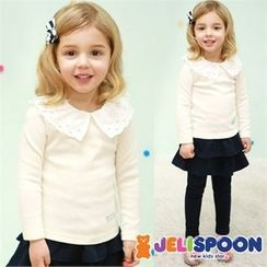 JELISPOON - Girls Lace-Collared Top
