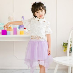 Candy Rain - Kids Lace Trim Short Sleeve Bow Accent Top