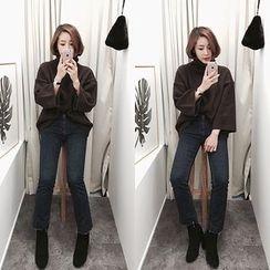 STYLEBYYAM - Fray-Hem Boot-Cut Jeans