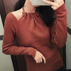 AMELA - Cut Out Detailed Long Sleeve Knit Top