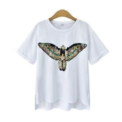Cherry Dress - Sequined Eagle Crewneck T-Shirt